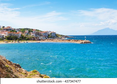 Panorama of seascape, town and coast line in Thassos Island, Greece