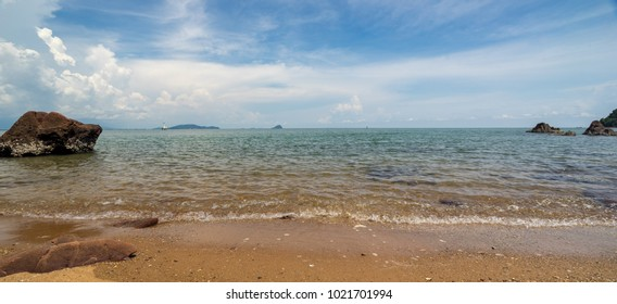 panorama of seascape view with blud and blue sky  in day time