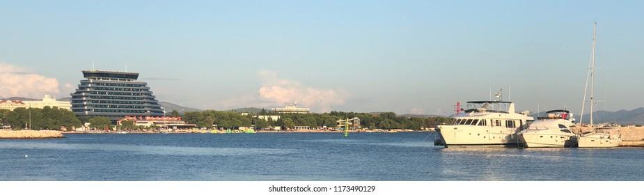 Panorama seaside view of Vodice near Sibenik in South Croatia
