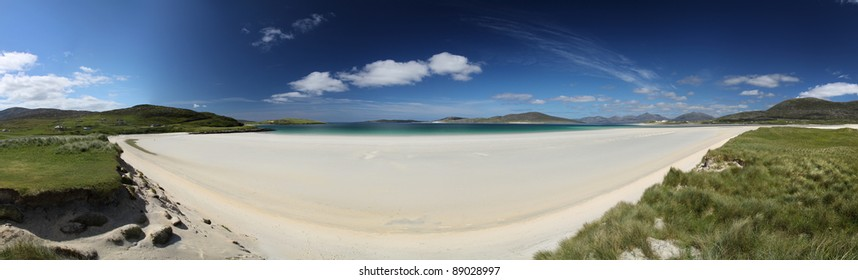 Panorama of Seilebost Beach on South Harris on a glorious summer day
