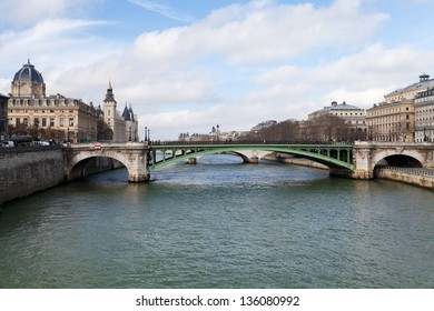 panorama of Seine river and Pont de Notre Dame in Paris in spring