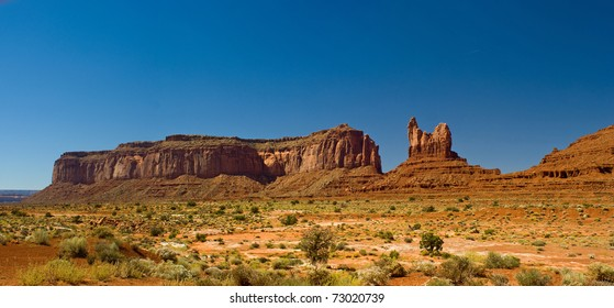 Panorama of Sentinel Mesa and West Mitten Butte at Monument Valley, Arizona