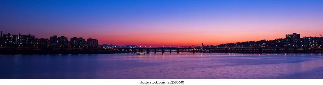 Panorama of Seongsu bridge at sunset in seoul,korea