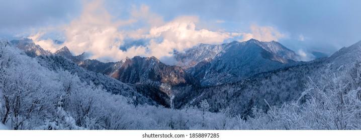 Panorama Seoraksan Snow winter in  mountain, South Korea