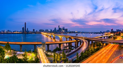 Panorama of Seoul City at Night,South Korea