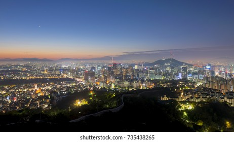 Panorama of Seoul City Skyline , South Korea