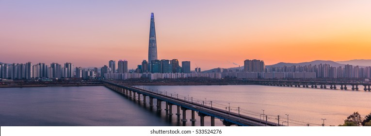 Panorama of Seoul Subway and Lotte Tower at Night, South korea