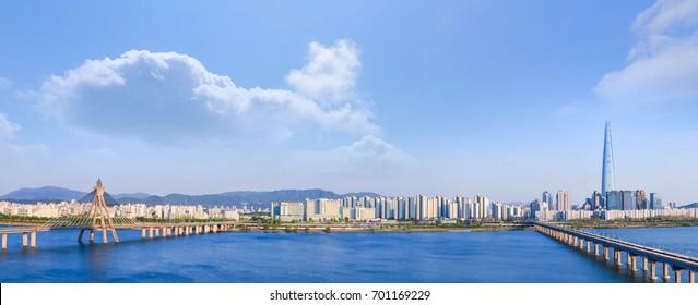 panorama Seoulcity South Korea. Hangang River and bridge