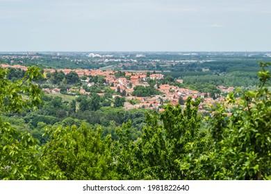 Panorama of the settlement of Sremski Karlovci from the mountain Fruska Gora near Novi Sad. - Shutterstock ID 1981822640