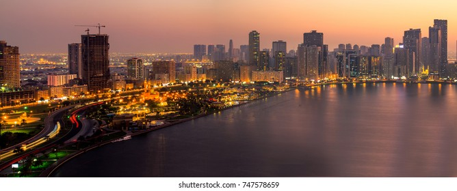 Panorama of Sharjah Skyline, and Majaz Park. Sharjah - United Arab Emirates October 2017