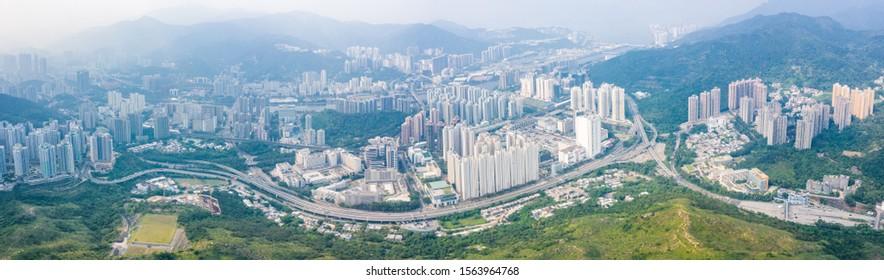 Panorama of Shatin area, new territories of North Hong Kong, Asia