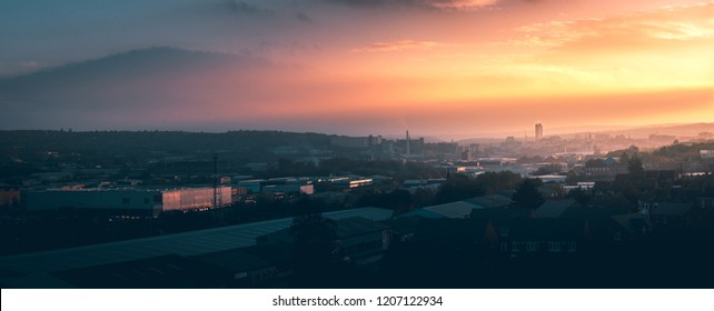 A panorama of Sheffield city at sunset