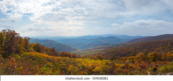 Panorama at a Shenandoah pull out in Virginia during autumn