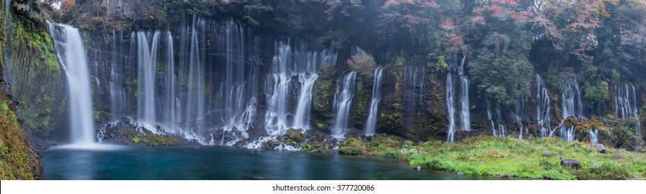 Panorama of Shiraito waterfall in Fujinomiya, Shizuoka, Japan.