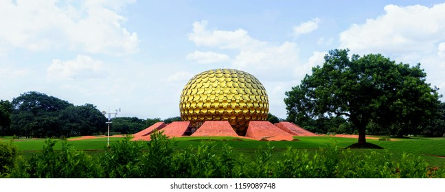 Panorama shot of Auroville Matri Mandir (Temple) , a hindu Temple in the Union territory of Pondicherry (Puducherry), India