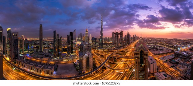 Panorama shot from the Dubai Downtown at sunset