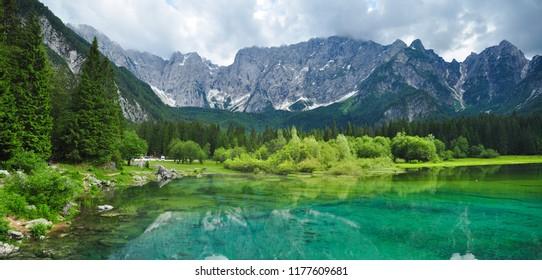 Panorama shot of Fusine Lake, Tarvisio, Italy