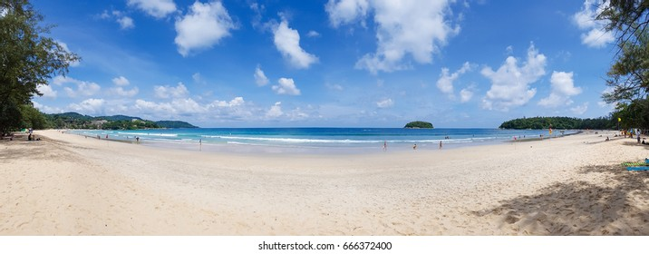 Panorama shot of Kata beach the beautiful beach in Phuket in sunny day that is good for surfing and relaxing on nice soft sand in Thailand