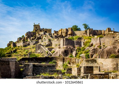 Panorama Shot of the Many Layers and Structures at Golconda Fort in Hyderabad, India