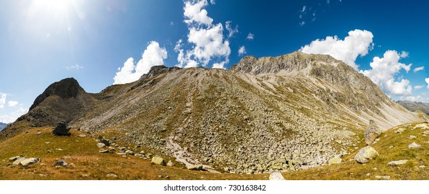 Panorama shot of the rocky slopes leading up to the Almerhorn mountain on the Austrian border to Italy.