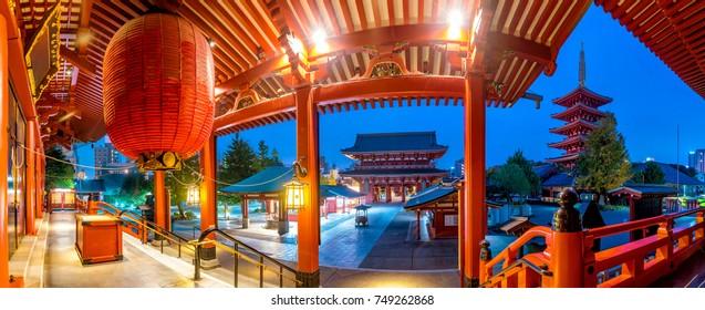 Panorama shot of sensoji temple in Asakusa, Tokyo, Japan.