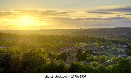 Panorama showing sunset over the historic town of Hexham, in Northumberland, England. The Abbey, Moot Hall and Border History Museum are all in view.