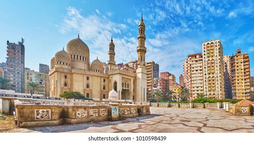 Panorama of Sidi Yaqut al-Arshi mosque with dense multistory buildings of residential neighborhood on background, Alexandria, Egypt.
