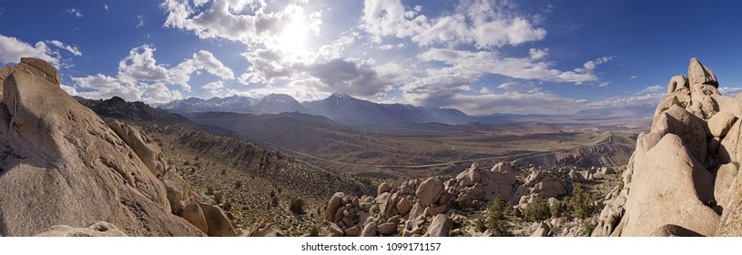 panorama of the Sierra Nevada Mountains and Owens Valley from above Bishop Creek
