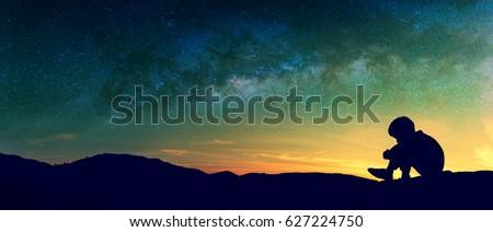 Panorama Silhouette Image Sad Boy Sit Stock Photo Edit Now
