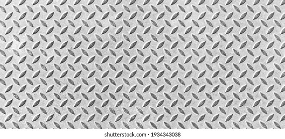 Panorama of Silver Diamond Steel Plate Floor pattern and seamless background
