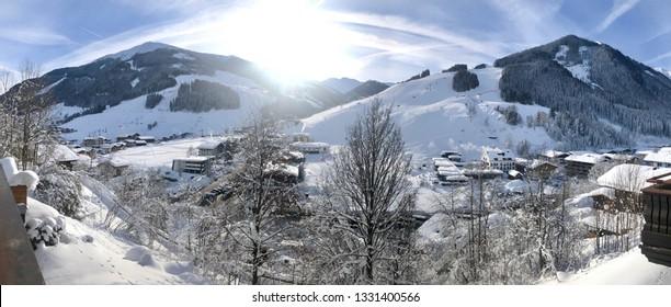 Panorama of Skiing area Saalbach-Hinterglemm, Austria, in winter on a sunny day