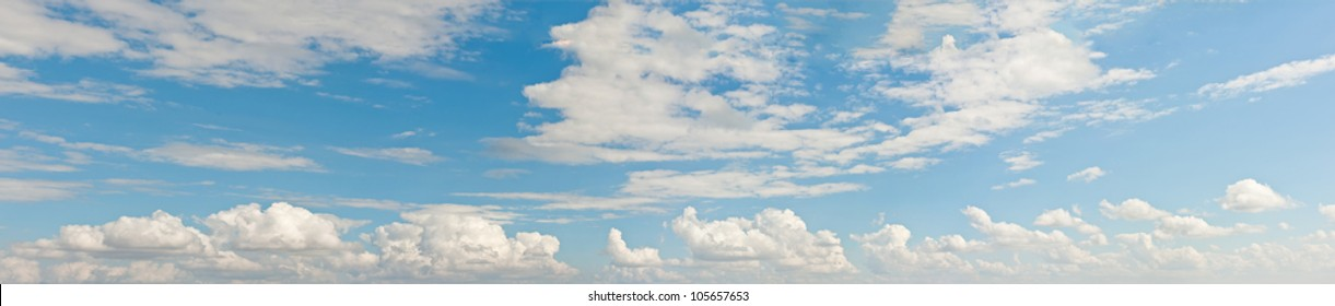 Panorama sky and cloud. Panoramic composition in high resolution.