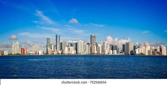 Panorama of the skyline of Miami shot from Key Biscayne