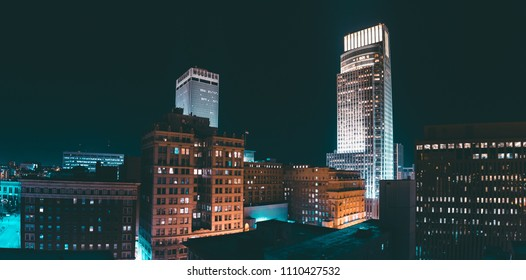 Panorama of skyline at night, Omaha, NE