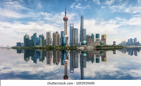 Panorama of the skyline of Shanghai, China, on a sunny day