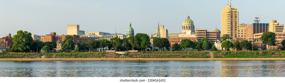 A panorama of the skyline of the state capital of Harrisburg.