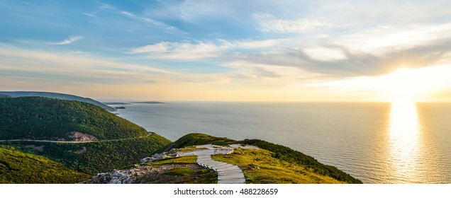 Panorama of Skyline Trail look-off at sunset (French Mountain, Cape Breton, Nova Scotia, Canada)