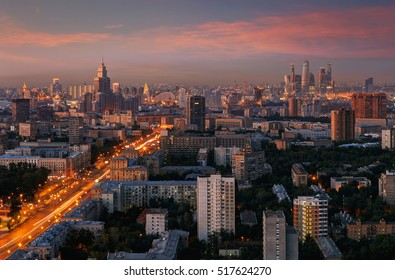 Panorama with skyscrapers, Leningradskoe highway during summer sunset in Moscow, Russia