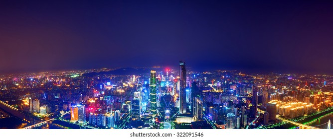 panorama of skyscrapers at night in guangzhou, China