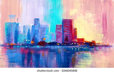 Panorama of skyscrapers on the bank of the morning river, oil painting.