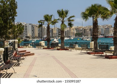 Panorama of Sliema, coastline in Malta