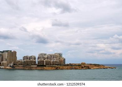 Panorama of Sliema during rainy weather, Malta.