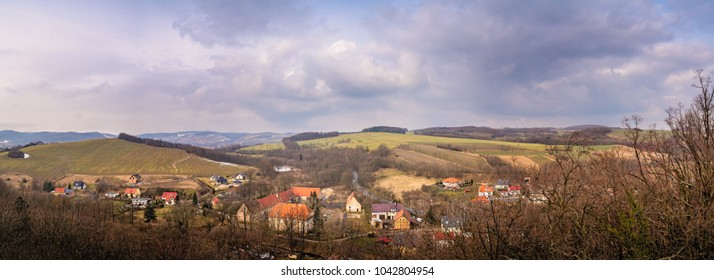Panorama of the small Bolkow town in Lower Silesia, Poland, as seen from the walls of the Bolkow castle