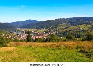 Panorama of small mountain town in polish carpathians.