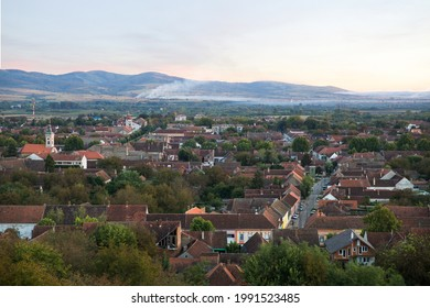 Panorama of the small town of Bela crkva, Serbia with the Romanian mountains in the background.Background, landscape, wallpaper, postcard.
