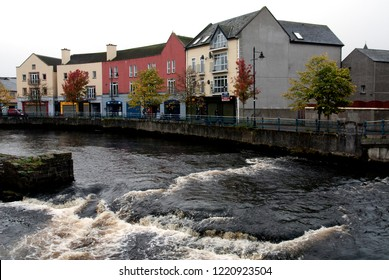 Panorama of the small town of Sligo with the river, Ireland, october 2009
