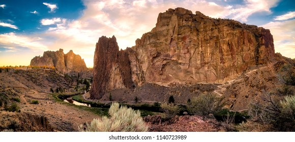 Panorama of Smith Rock State Park in Central Oregon with the Crooked River running through is a popular destination for tourists, hikers and rock climbers
