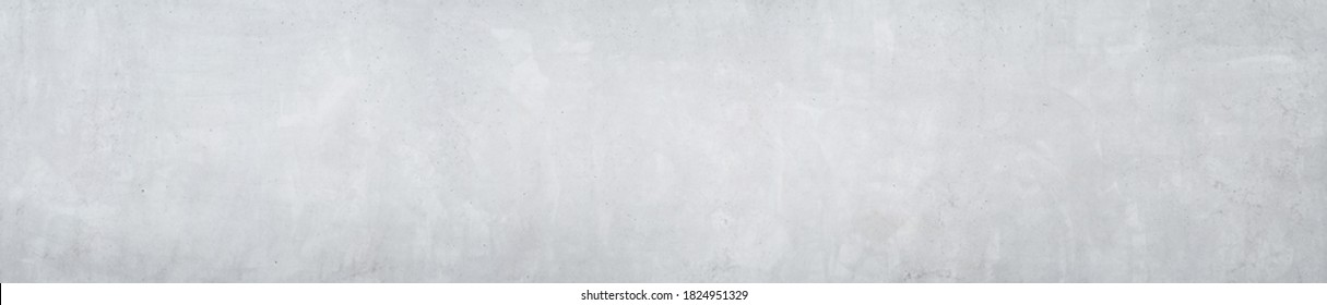 Panorama of a smooth gray concrete or cement wall as wallpaper or texture