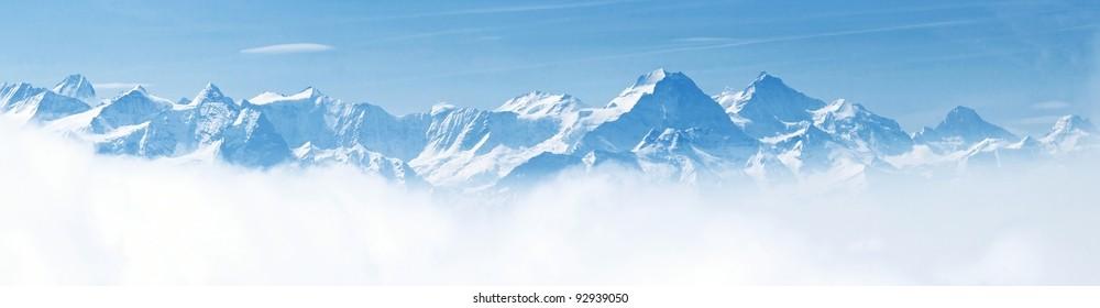 Panorama of Snow Mountain Range Landscape with Blue Sky from Pilatus Peaks Alps Lucern Switzerland