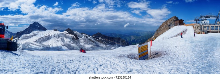panorama of snow park  in Austrian tourist area, Hintertux Glacier